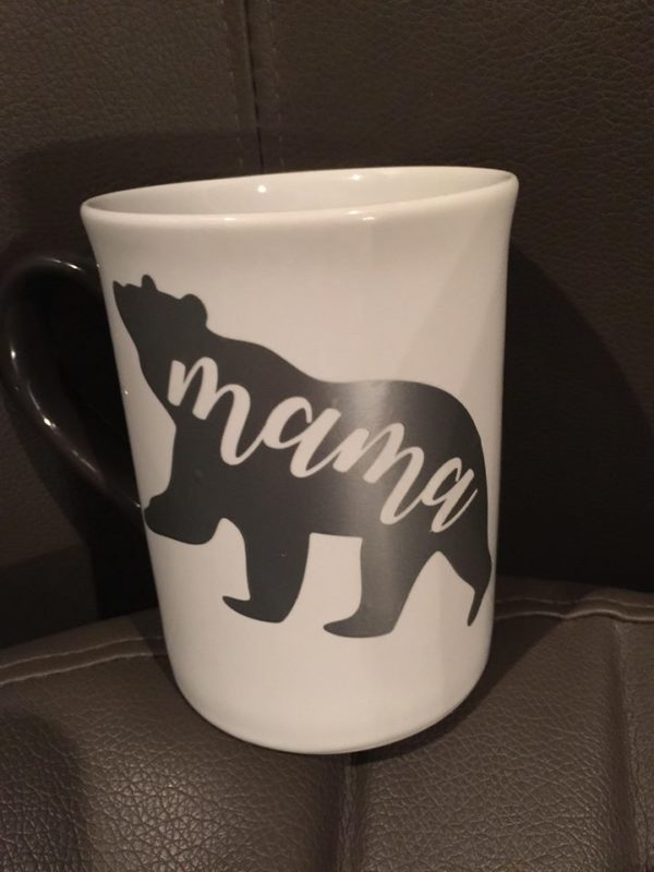 okhpr mama bear decal in silver on coffee mug